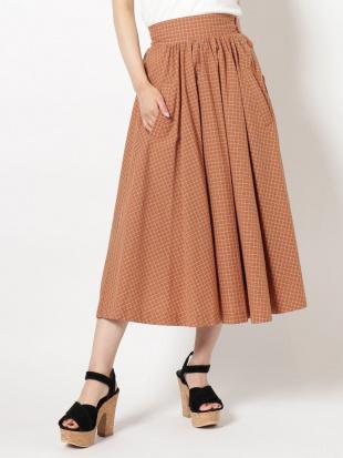 オレンジ サイドボタンフレアスカート dazzlinを見る