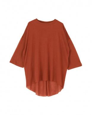 ダークオレンジ バックハイスリットシアーカットソーTシャツを見る