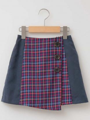 ネイビー [140-150]チェックキリカエ台形スカート a.v.v bout de chouを見る