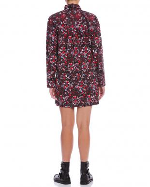 ブラックマルチ フローラルプリント デザインカラー 長袖ドレスを見る