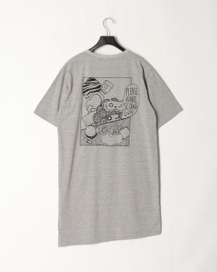 杢グレー モーニング柄Tシャツワンピースを見る