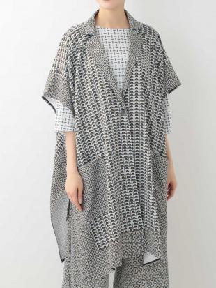 ライトブルー 【洗える/日本製】幾何パターンデザインジャケット HIROKO KOSHINOを見る