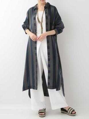 ネイビー ダブルストライプロングシャツドレス HIROKO KOSHINOを見る