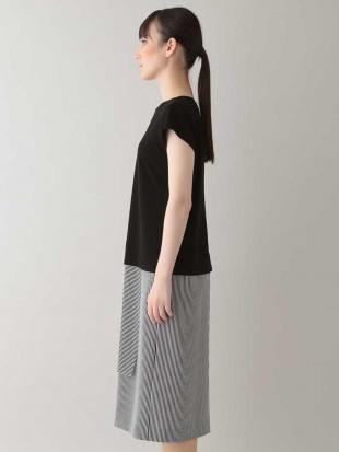 ホワイト 【日本製】ストライプ切り替えドレス HIROKO KOSHINOを見る