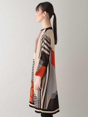 オレンジ 【日本製】コレクションジャカードニットドレス HIROKO KOSHINOを見る