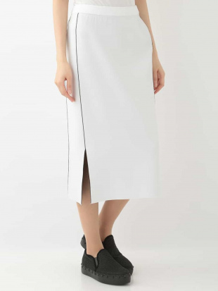 ホワイト バイカラーストレッチニットスカート HIROKO KOSHINOを見る