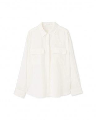 ホワイト ◆麻調合繊ダブルポケットシャツ PINKY & DIANNEを見る