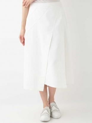 ホワイト 【洗える】イレギュラーヘム ステッチスカート HIROKO BISを見る