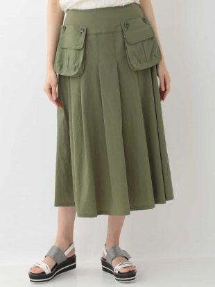 カーキ 【洗濯機で洗える】デザインポケット タックフレアスカート HIROKO BISを見る