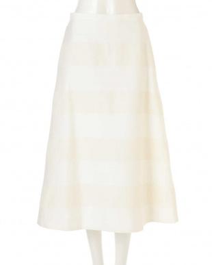 ホワイト 麻ボーダーセミフレアースカート アドーアを見る