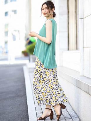 グリーン 綿タッチ花柄プリントフレアスカート a.v.vを見る