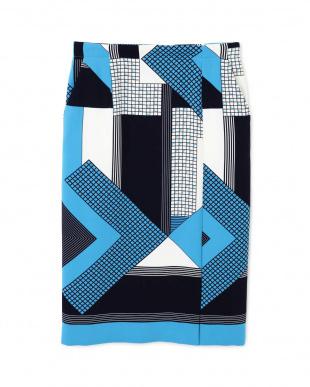 ブルー ◆[ウォッシャブル]パッチワークプリントスカート BOSCHを見る