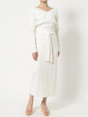 ミントグリーン スカラップニットタイトスカート LAGUNAMOONを見る