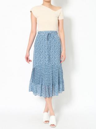ブルー フラワープリントプリーツスカート LAGUNAMOONを見る