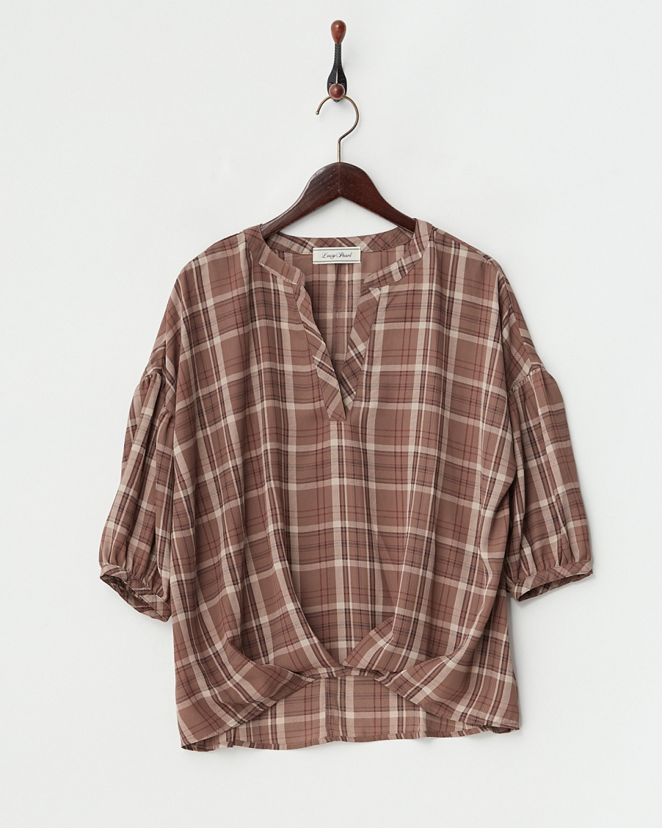 LucyPearl / Brown check volume sleeve pullover / Women's