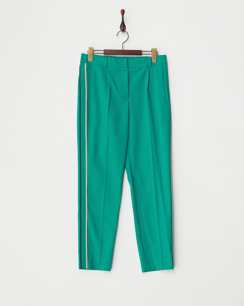 BACCA / green wool stretch light pants, side-by-color piping / Women's