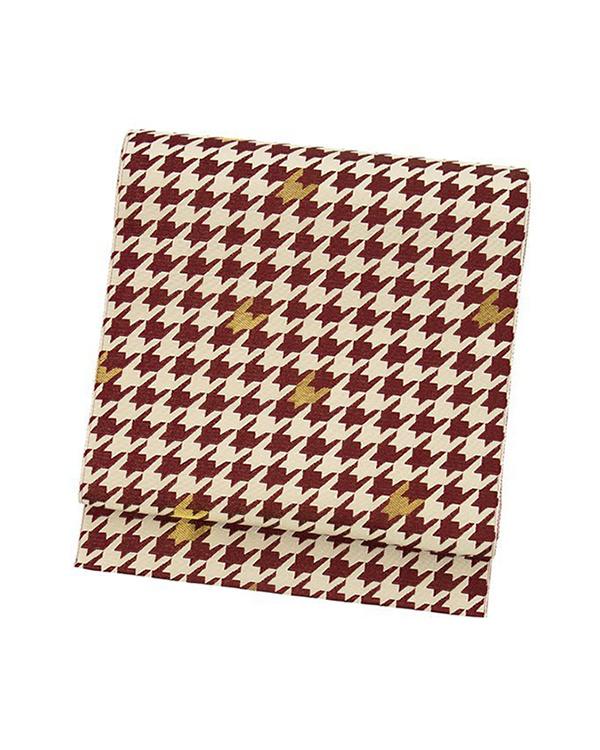 Kimono play .net / wine-based houndstooth Obi Nagoya Obi ○ 31-KJ17-OR204
