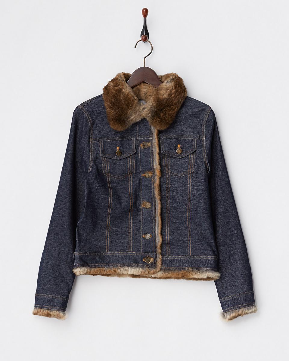VESGIOIA / denim denim tone rabbit trim jacket ○ 16FS-149 / Women's