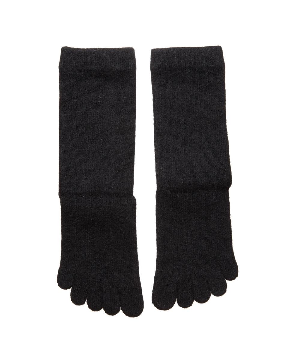 Floche /黑色安哥拉混合五指襪○7484IJ