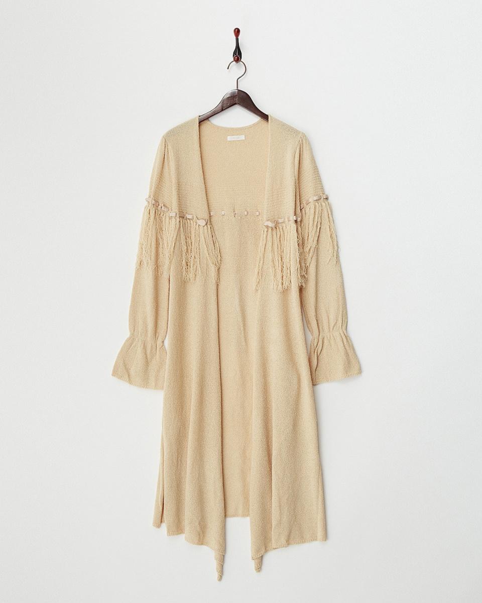 MIIA /米色条纹长款开衫/女装