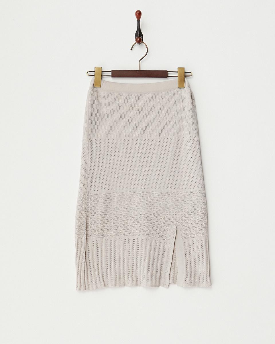 MIIA /浅灰色缝隙花边针织裙/女装
