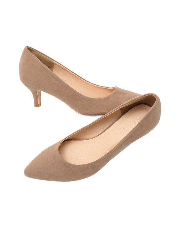 再找補一下/麂皮/米色6厘米鞋跟尖的鞋頭泵/女裝