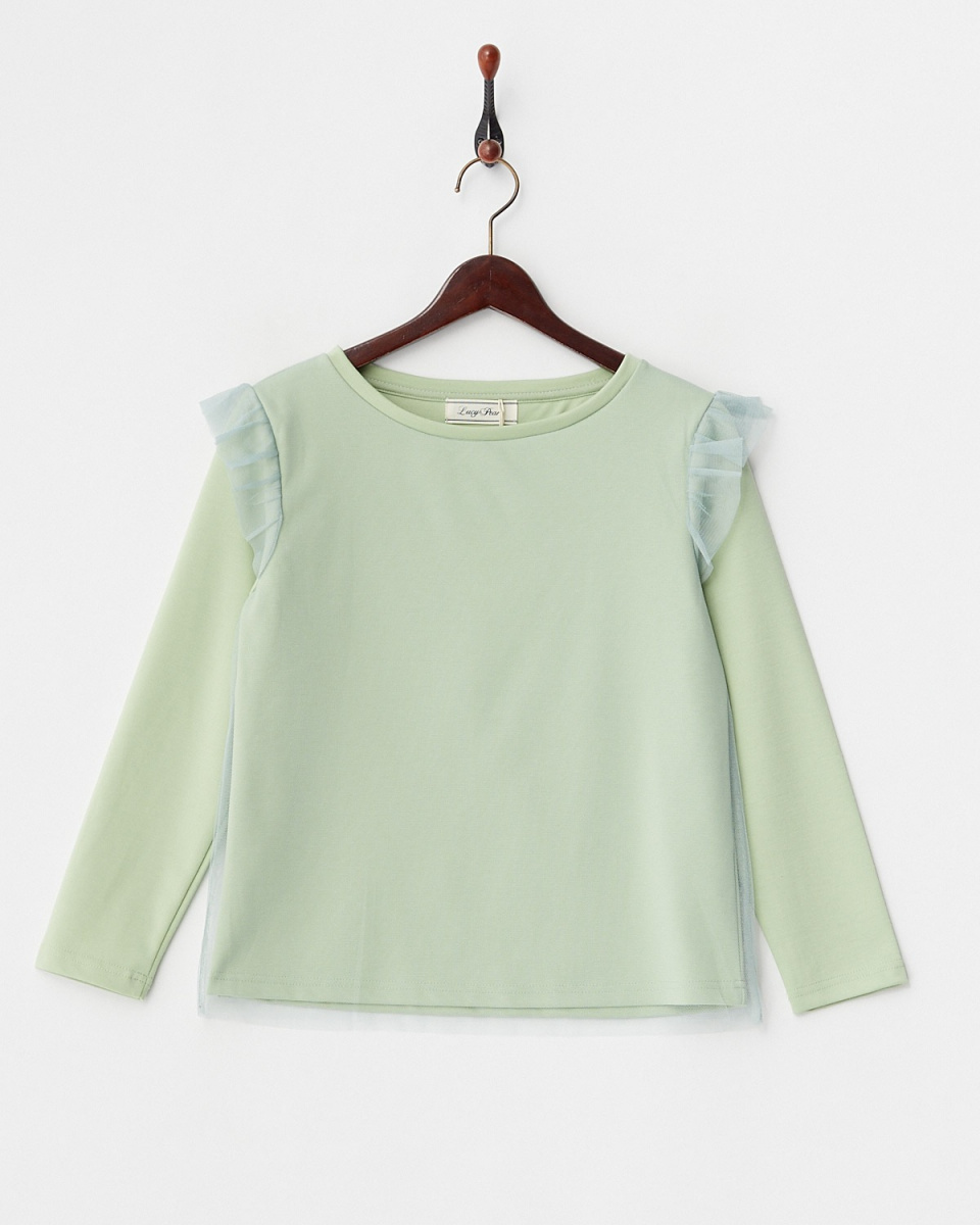 LucyPearl / mint shoulder ruffle tulle overlaid tops ○ WIS7079 / Women's