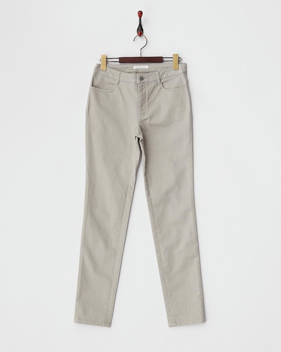 GALERIE VIE / light gray cotton twill stretch pants ○ 23044104006 / Women's