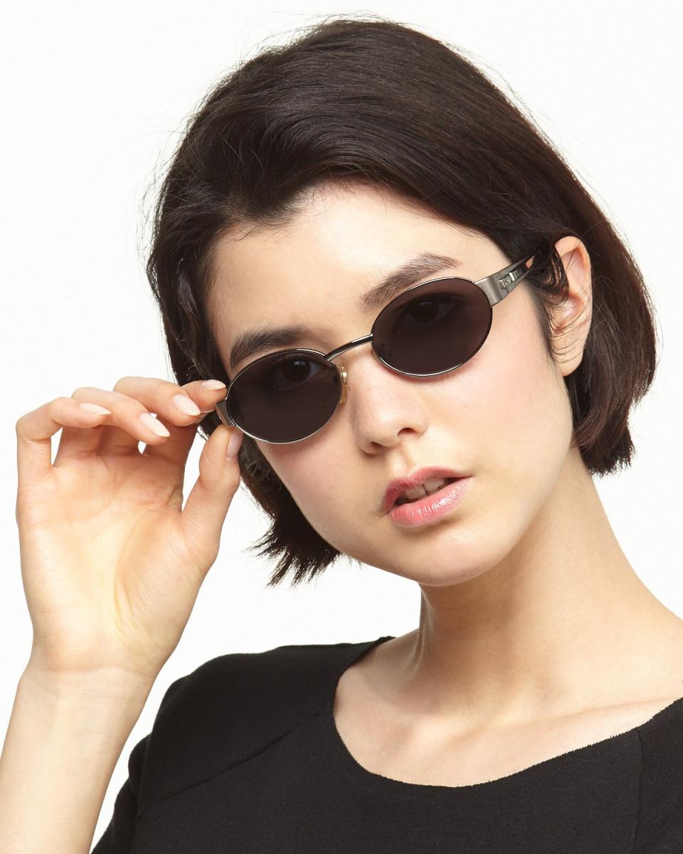 拉佩拉/金屬的黑色標誌金屬橢圓形眼鏡