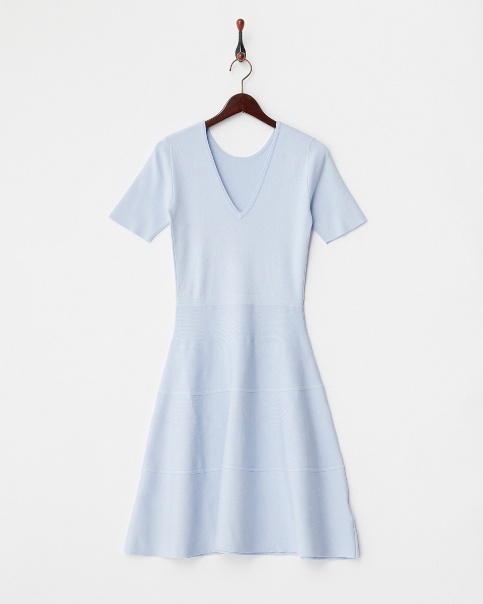 DRWCYS /藍色閃光針織連衣裙○71172006 /女子