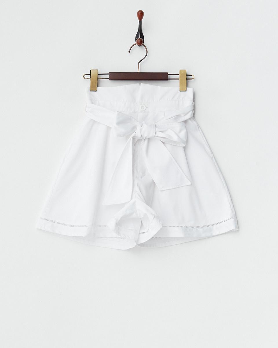 MIIA /米色高腰裙褲緞帶/女裝