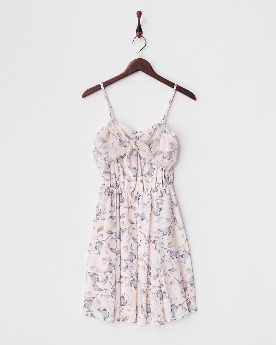 MIIA /粉红丝带花连衣裙/女装