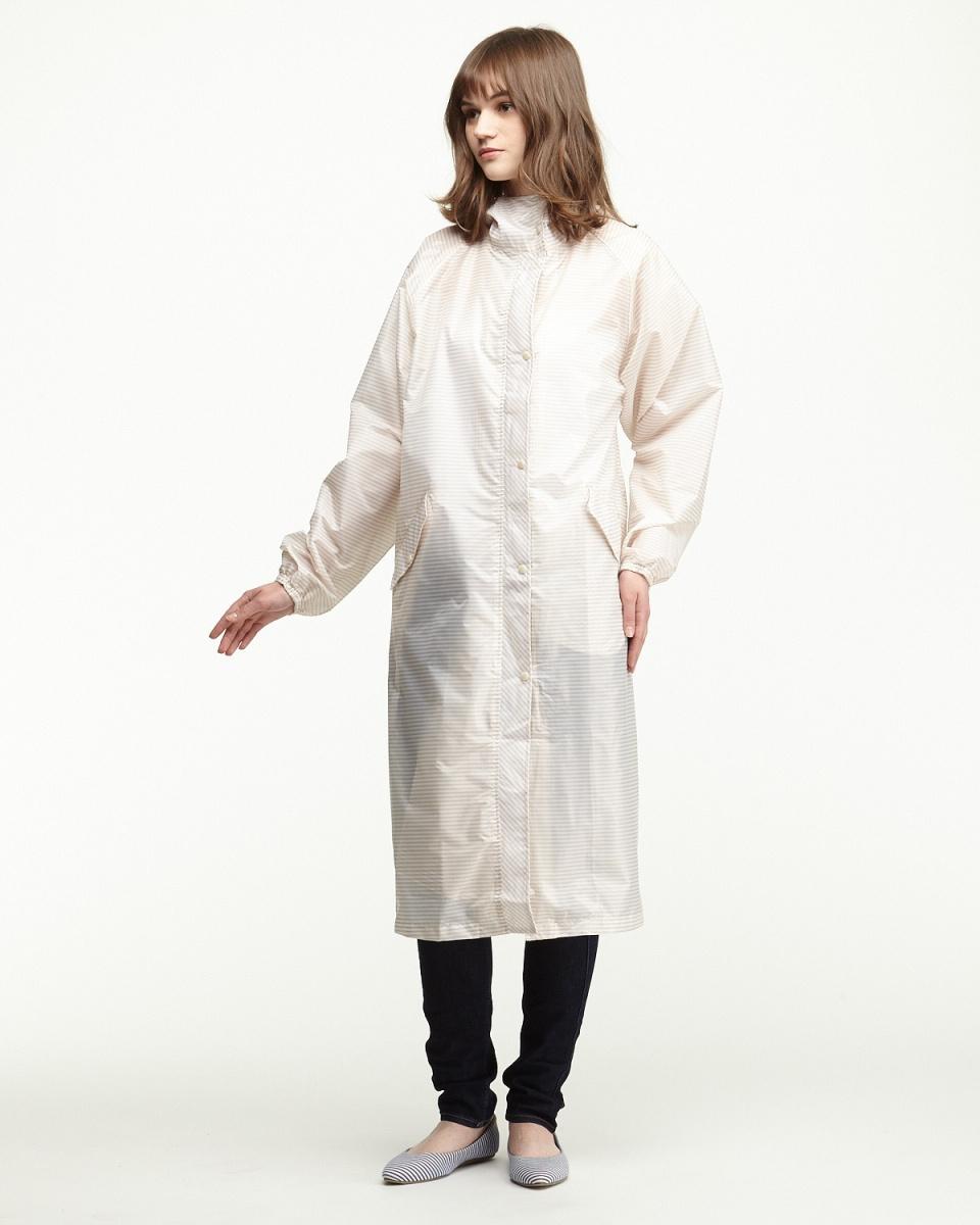 Bronze / beige border water-repellent cycle coat | WOMEN