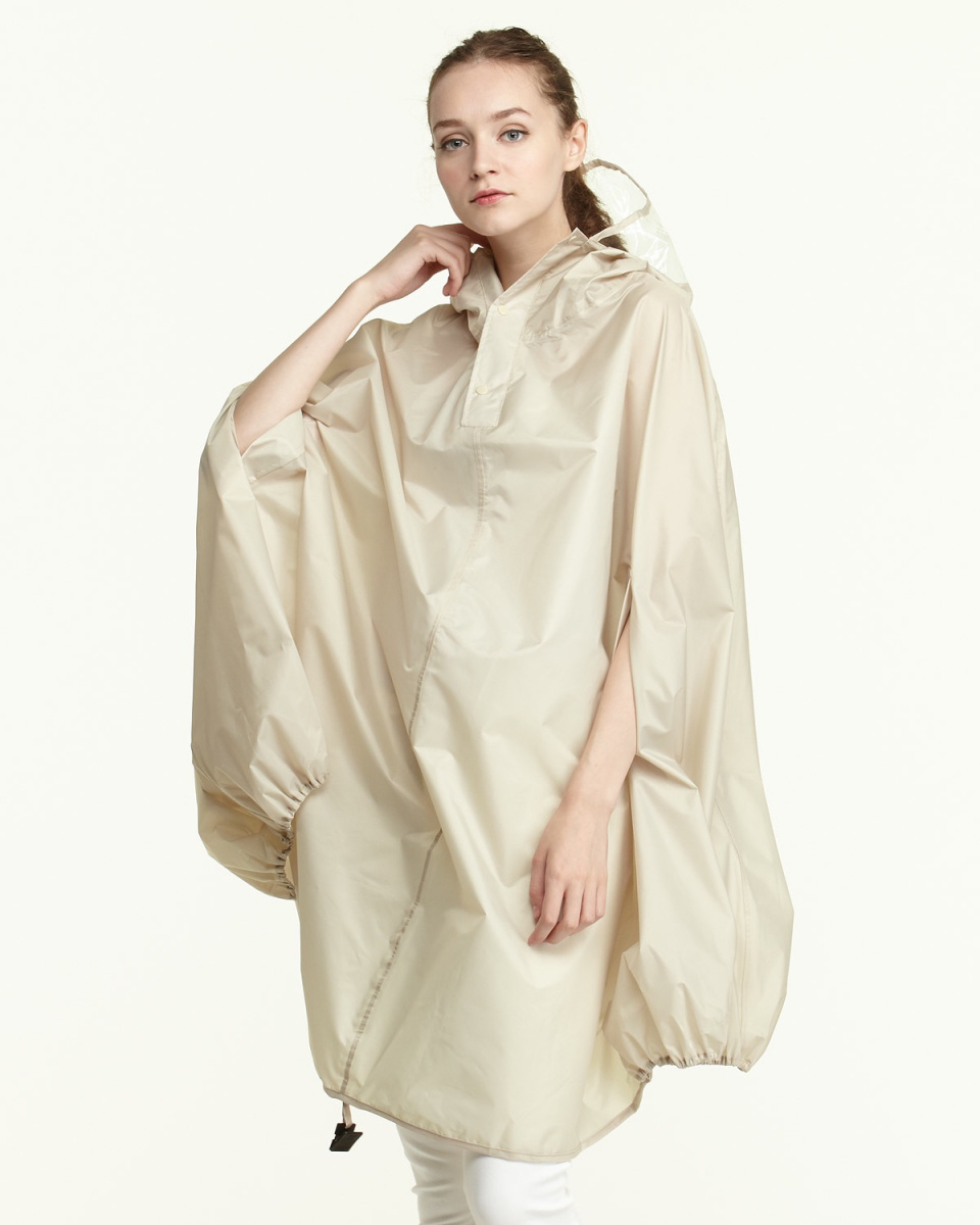Bronze / beige plain cycle rain poncho | WOMEN ○ 572116