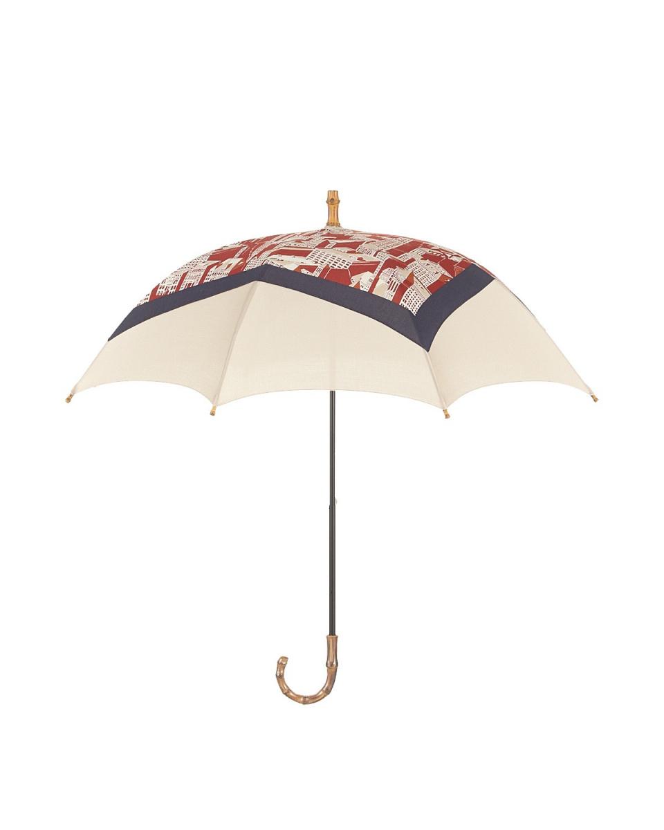 Bronze / Red / beige cotton scarf-clad sliding parasol ○ T66678