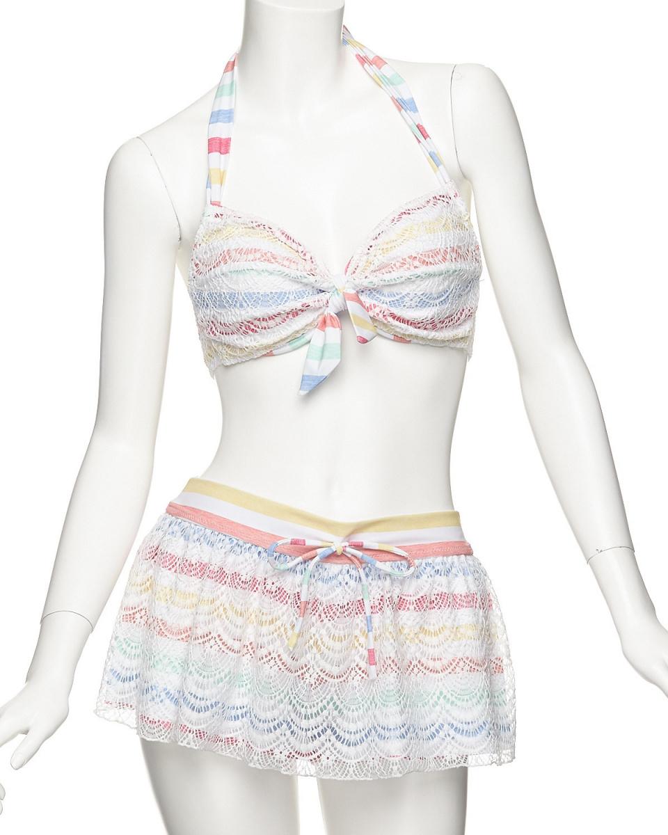 Aruyu(泳衣)(RU)/粉紅美麗的Rakuchin泳衣邊界×花邊比基尼Kyuropan帶有3件套