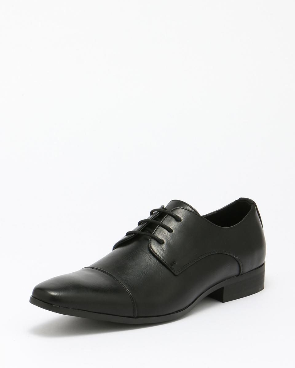 MM / ONE /黑色羽毛外系帶商務皮鞋/男子