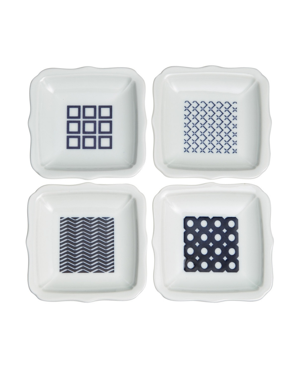JAPANESE TABLEWARE / 4 sheets with modern dyed bellflower small dish assortment ○ 4965089865185