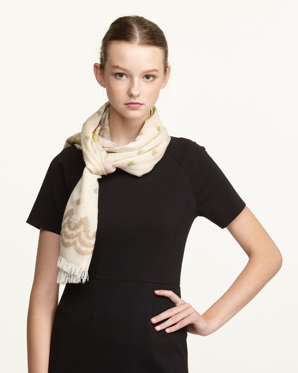 YOSHIMASA / beige multi-cashmere blend \nback cut jacquard stall
