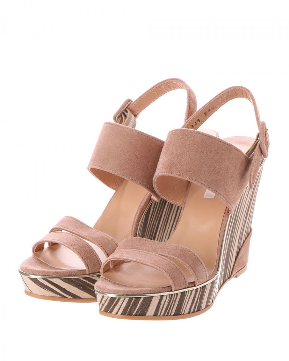 七十二点半/米色麂皮木纹坡跟鞋凉鞋