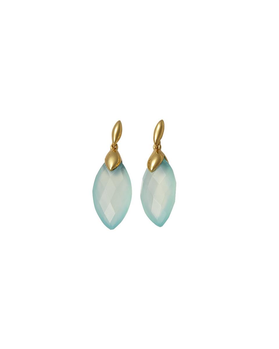AZUNI / Aqua almond Stone Earrings
