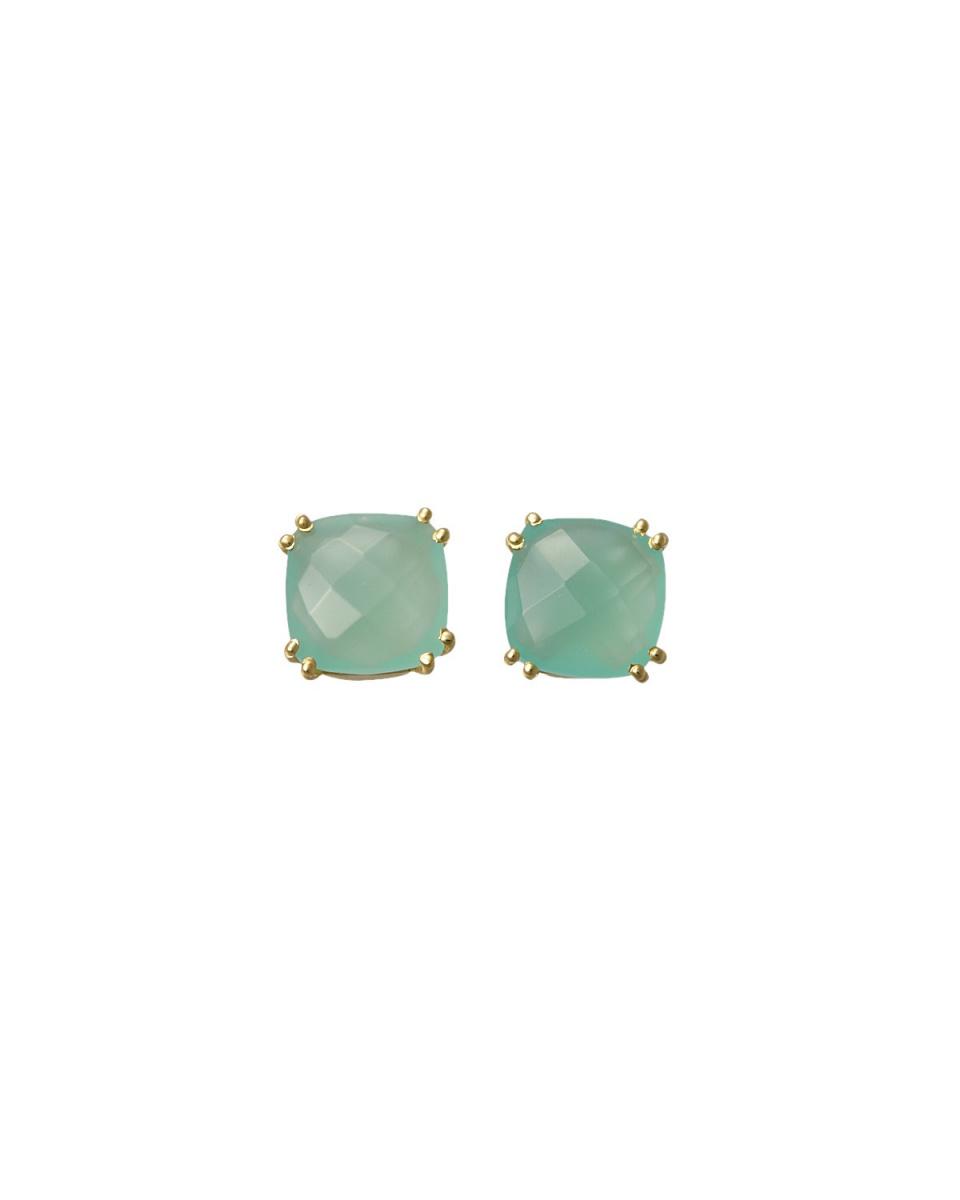 AZUNI / Aqua Square Stone Earrings