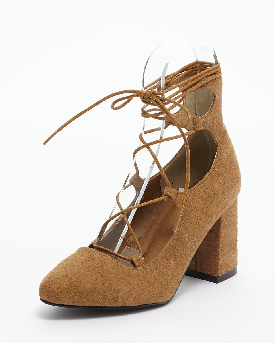 AMBINET / Camel glifeed lace-up pumps ○ CNKR0101 / Women's