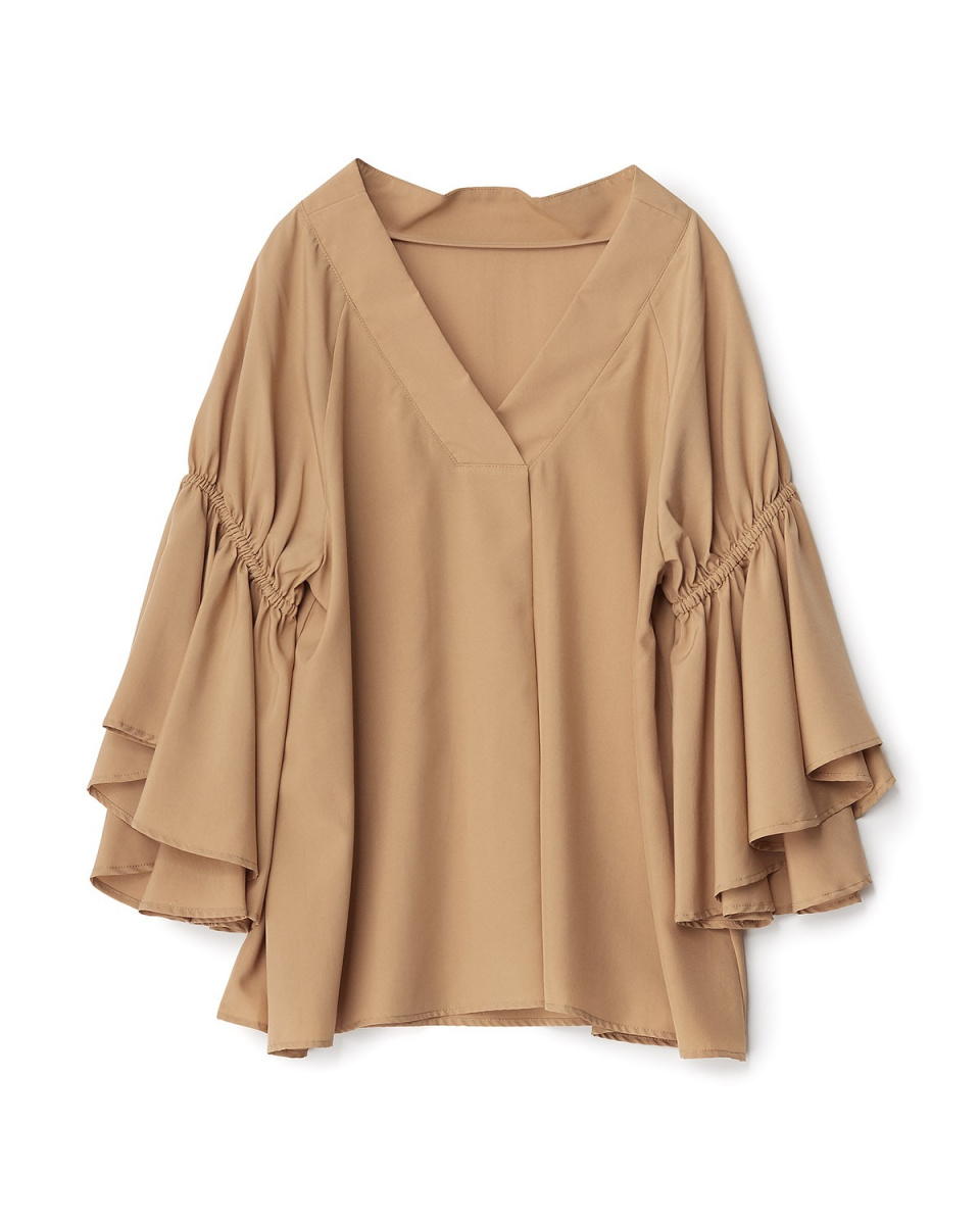 Human 2nd Occasion / Camel flare gather sleeve V-neck blouse ○ 73-1686 / Women's