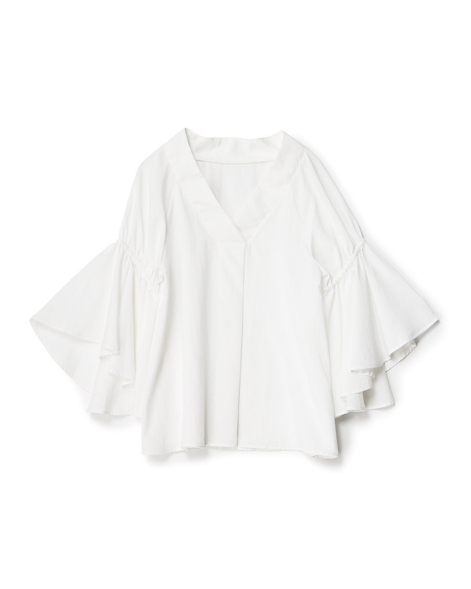 人類第二場合/灰白色耀斑收集袖V領襯衫○73-1686 /女裝