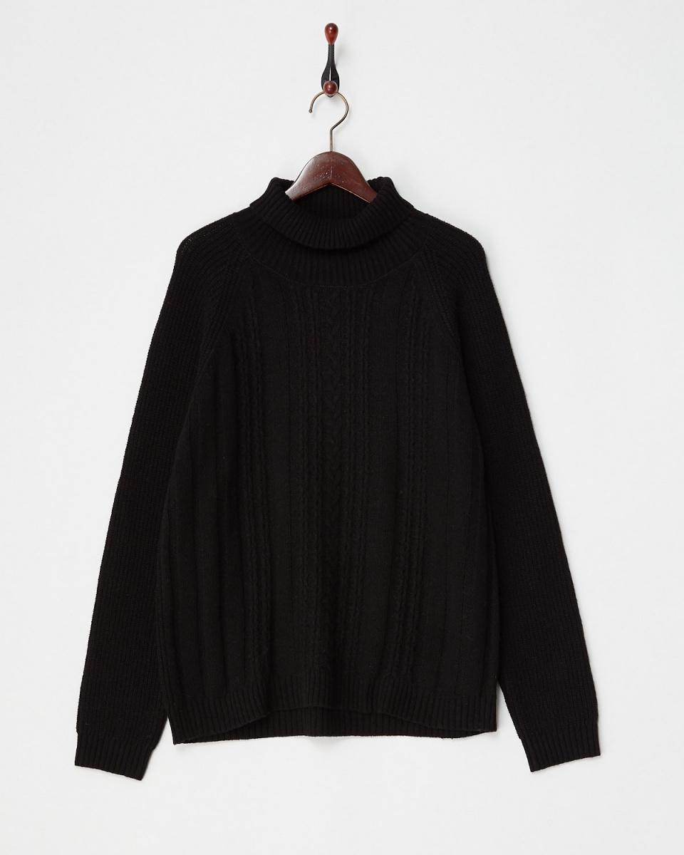 人类第二场合/黑色电缆×阿宰针织高领针织○73-1040 /女装