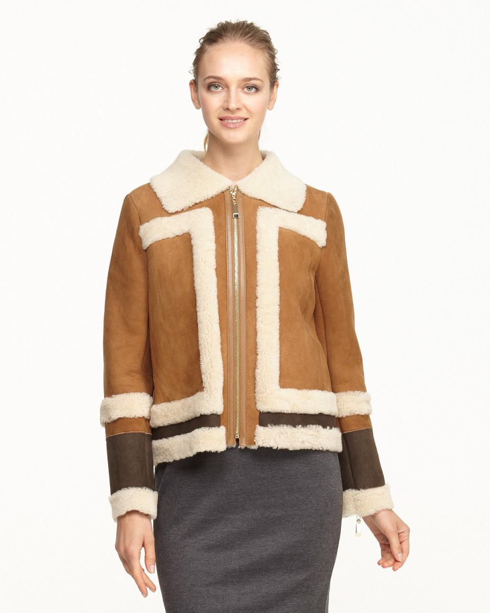 Vesgioia / Camel Mouton zip jacket ○ F-175131 / Women's