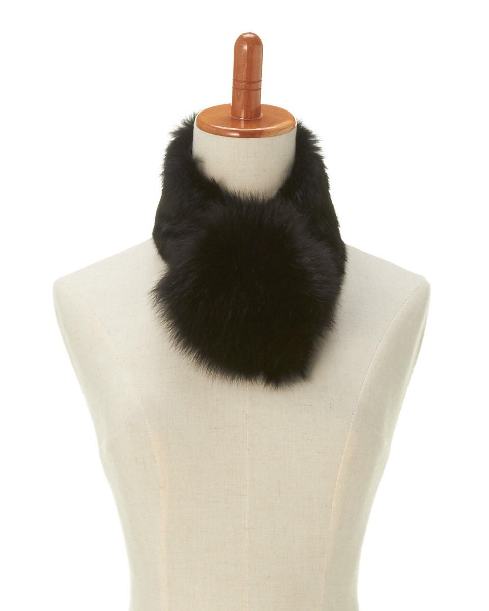 OHTSUYA / black rabbit fur clip color ○ OTR4