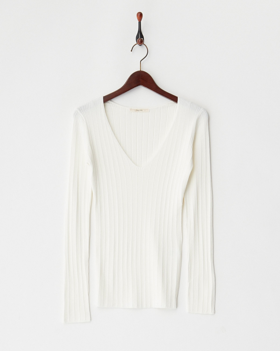 Twenty Three / off V Nekkuribu knit ○ 133-37817 / Women's