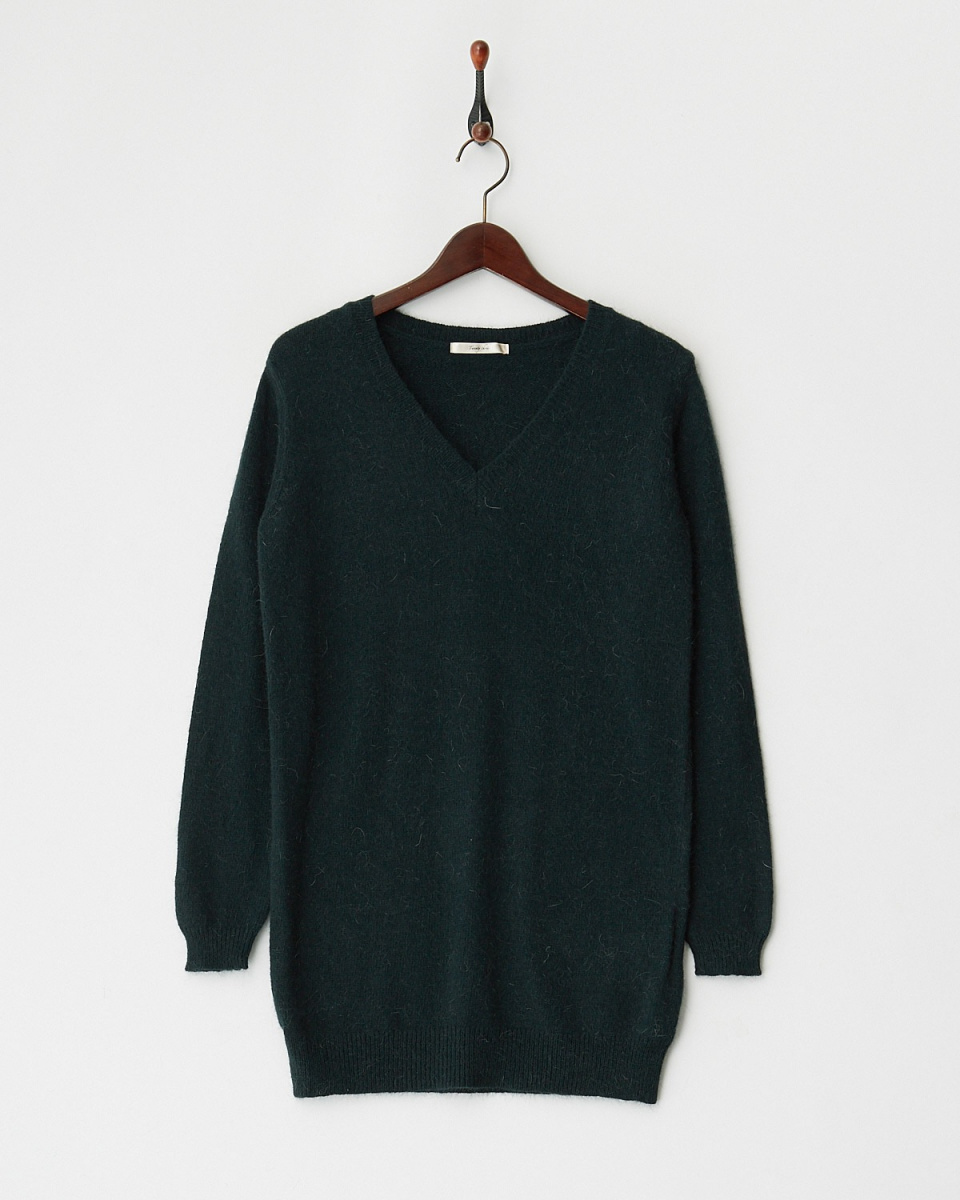Twenty Three / green Angola blend V-neck knit dress ○ 543-28551 / Women's